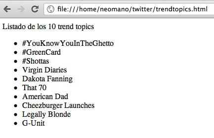 "twitter trend topics Cómo obtener los ""trend topics"" de Twitter usando jQuery Cómo obtener los ""trend topics"" de Twitter usando jQuery trendtopics2"