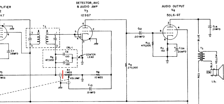 schem2 Convirtiendo una radio antigua en un amplificador de guitarra a válvulas (tubos de vacío) Convirtiendo una radio antigua en un amplificador de guitarra a válvulas (tubos de vacío) schem2