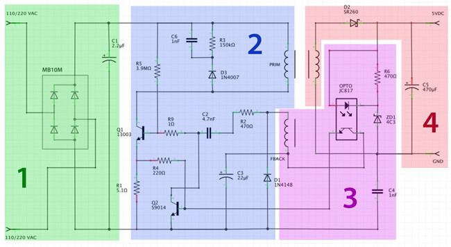 circuit_explanation {focus_keyword} Ingeniería inversa y análisis de un cargador USB de 2 amperios circuit explanation