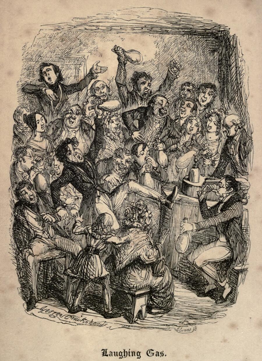 {focus_keyword} Las extrañas fiestas para inhalar anestesia de principios del siglo XIX gas de la risa